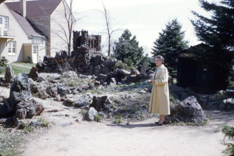 Ruby V. Hanneman at Rudolph Grotto Gardens in 1958 or 1959.