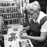 Irma Hanneman at work in the Hanneman Rock and Gift Shop in Wausau in 1966.