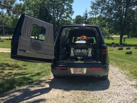 The hearse from Draeger-Langendorf Funeral Home brought Jane from Milwaukee.