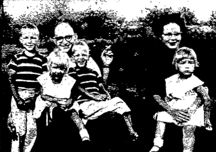 The Richard E. Rickman family, shown in a 1960 newspaper photograph. Left to right are Richard, 7; Patricia, 3; Richard Sr., 35; Robert, 5; Helen, 34; and Catherine, 4.