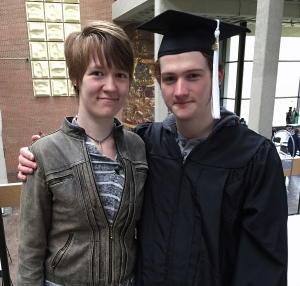 Stevie with his girlfriend, Maggie, after graduating with a degree in computer science.