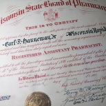 Carl earned his registered assistant pharmacist license in January 1925.