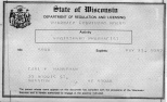 The last pharmacist license issued to Carl F. Hanneman by the board of pharmacy. It was still in effect on the day he died in May 1982.
