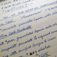 A sample from one of Carl Hanneman's pharmacy notebooks.