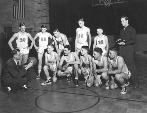 The Mauston High School Bluegold basketball team, circa 1949, coached by Bob Erickson.