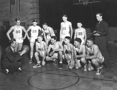 The Mauston High School Bluegold basketball team, circa 1949, coached by Bob Erickson.