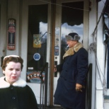 Carl Hanneman emerges from the Mauston Drug Store, circa 1958.