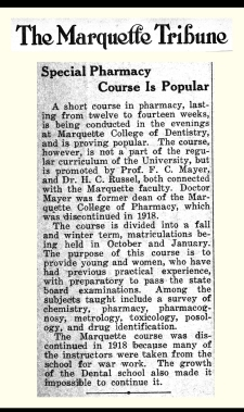 Marquette's short course in pharmacy proved popular in the mid-1920s.