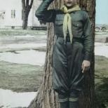 David D. Hanneman's Boy Scouts uniform, as well as the surrounding grass, received tinting.