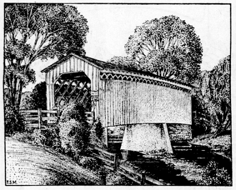 This sketch of the Cedarburg covered bridge, by artist Frank S. Moulton, appeared in the Wisconsin State Journal on November 26, 1950.