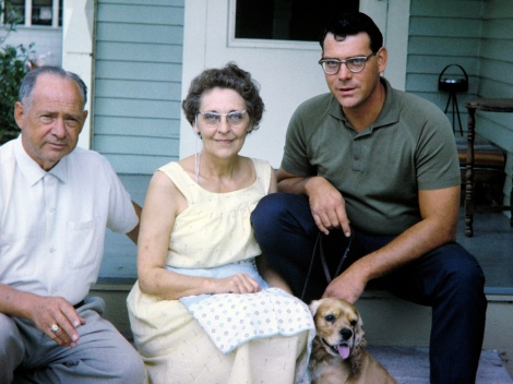 Dad with parents Carl and Ruby Hanneman, and dog Cookie.