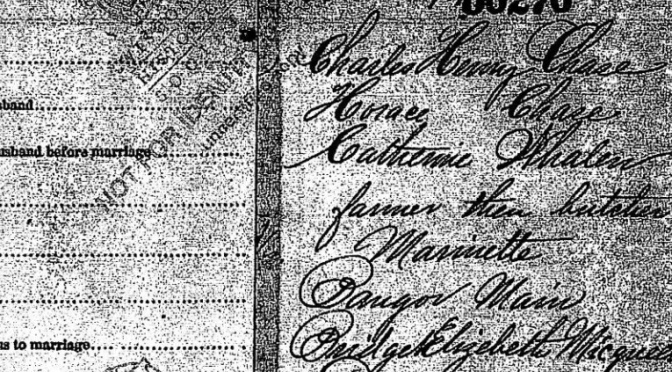 Details from Charles Chase – Elizabeth Mulqueen Marriage License