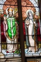 Stained glass of St. Patrick.