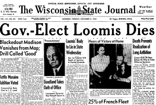 Carl F. Hanneman's photo of Orland Loomis on Page 1 of The Wisconsin State Journal on December 8, 1942.