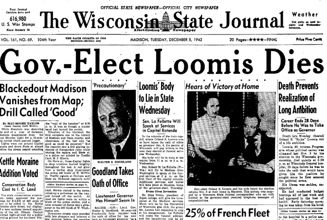 Mauston Quiet With Tragedy at Death of Gov.-Elect Orland Loomis