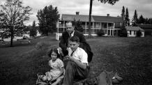 Carl F. Hanneman with children Lavonne and David, in Bayfield County, circa 1942.
