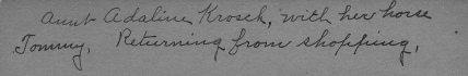 Handwritten caption on the back side of the Adeline Krosch photograph