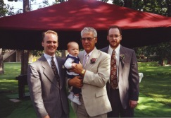 David C. Hanneman, Grandpa Dave with Stevie, and Joe Hanneman in August 1992.