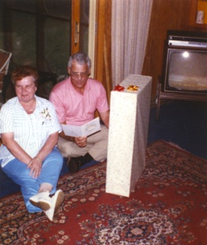Mary and Dave receive a grandfather clock on their 25th anniversary.