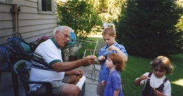 Grandpa Dave with Stevie and Samantha Hanneman.