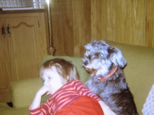 Amy Hanneman with pet schnauzer Heidi Ho-Ho