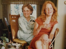 Ruby V. Hanneman with granddaughter Jane Hanneman on July 12, 1975, celebrating Ruby and Carl's 50th anniversary.