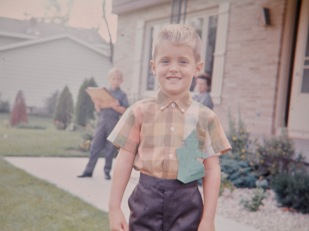 David C. Hanneman on his first day of school.
