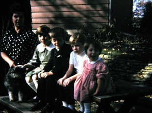 In the rock patio: Mary K. Hanneman, Laura Mulqueen, David, Joe and Marghi Hanneman.