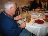David D. Hanneman, carving the turkey in 2005.