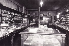 Shelby Beers behind the counter of the Crosse and Cross Drugstore, circa 1920s. (Sun Prairie Public Museum photo)